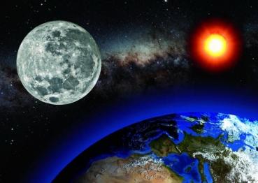 spacebooks versandbuchhandlung volker r hrs 3d postkarte earth sun moon erde sonne mond. Black Bedroom Furniture Sets. Home Design Ideas